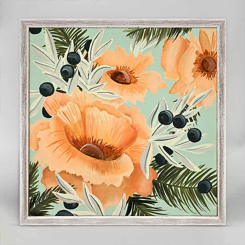 Coral Floral Mini Framed Canvas