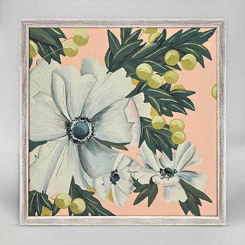 White Cosmos Mini Framed Canvas