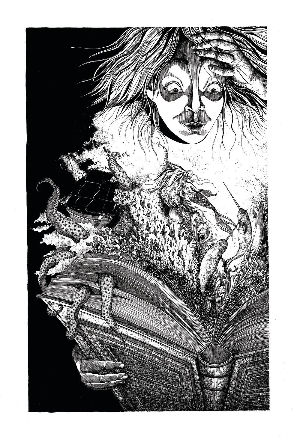 illustration noir et blanc Imaginarium