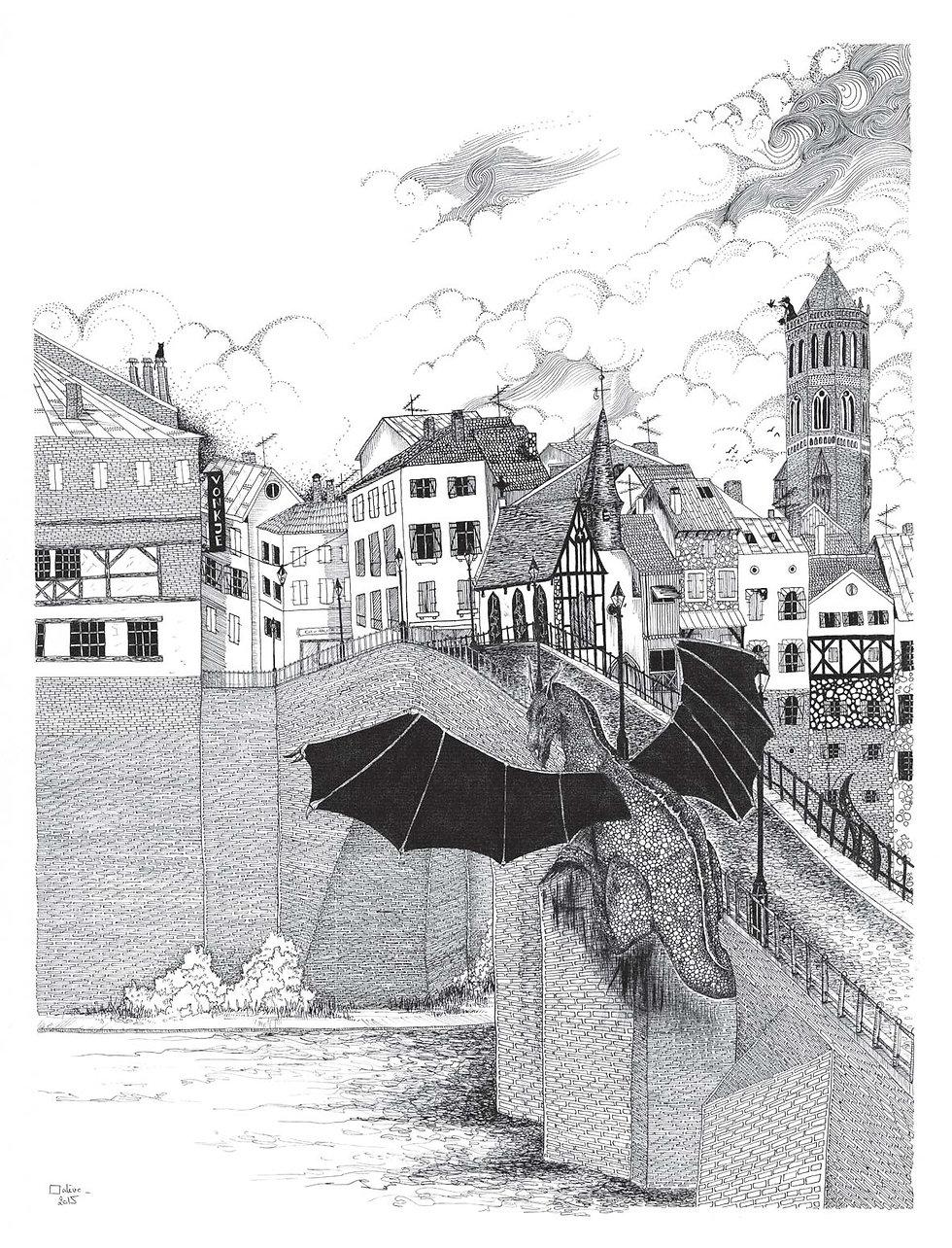 illustration noir et blanc L'Intrus