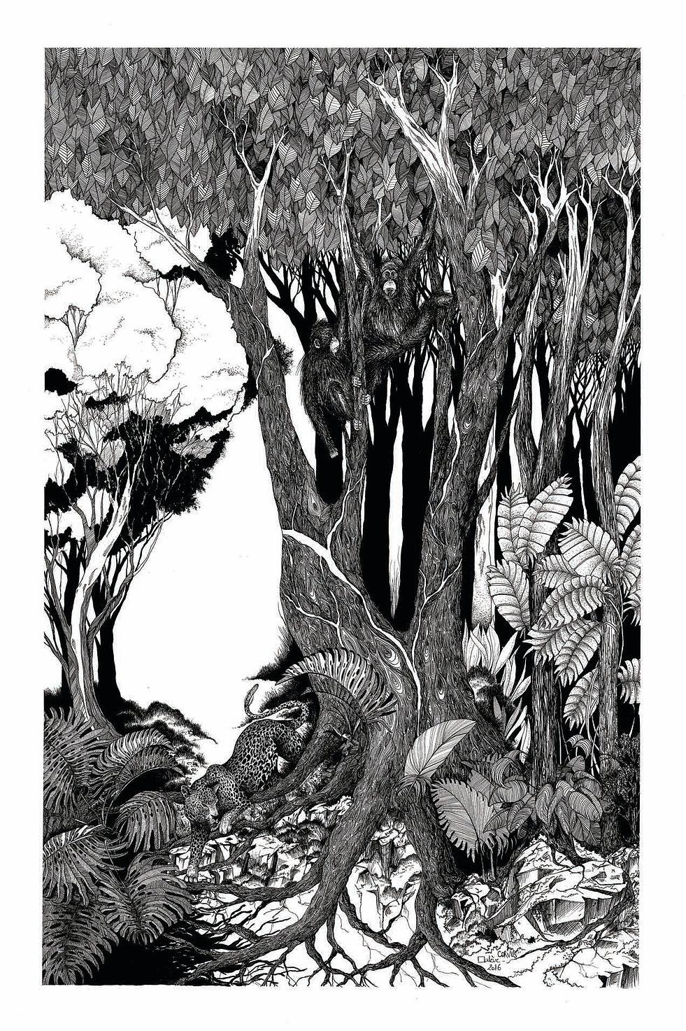 illustration noir et blanc Foison