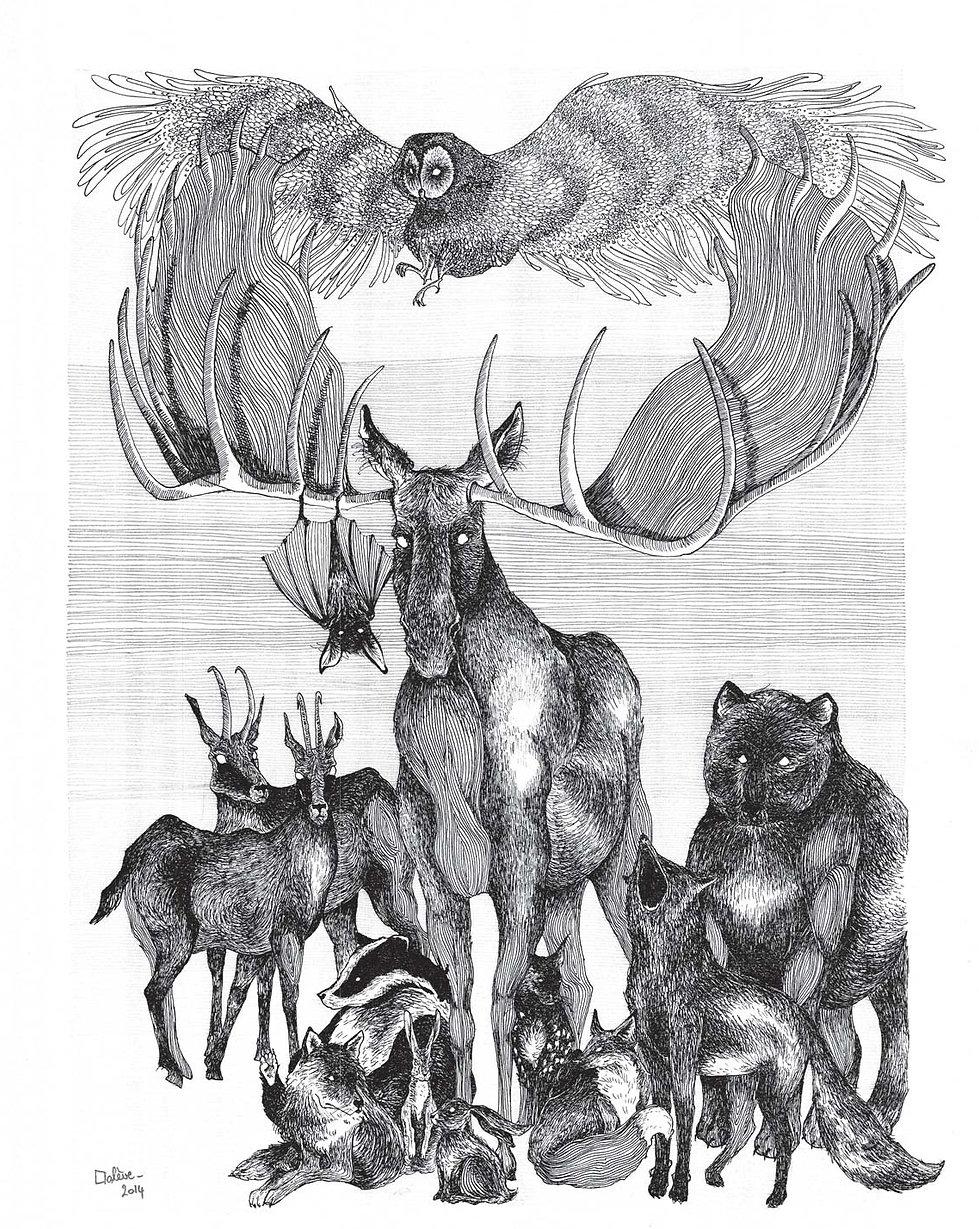 illustration noir et blanc Les Fantômes