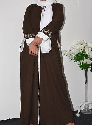 Soft brown abaya detailed silver beads