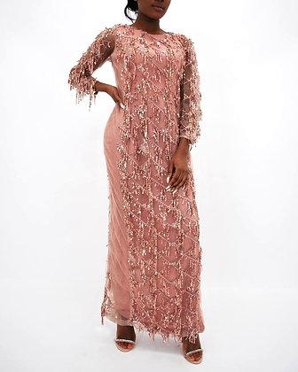 Blush Pink Sequined Tassle Dress