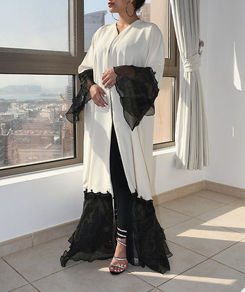 Heavenly Off-White Lace Abaya