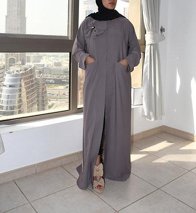 Stone Grey Bow Abaya