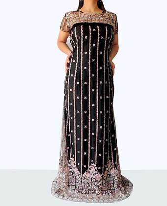 Beaded Tulle A-Line Evening Dress