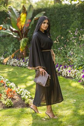 Black Mocha Chiffon Layer Abaya
