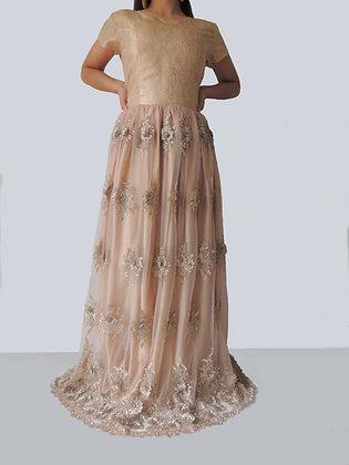 Peach Jacquard Bell Gown