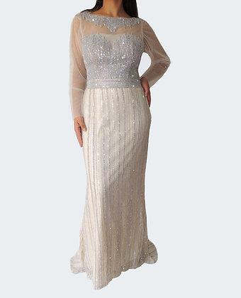 Diamante Encrusted Cream A-line Dress