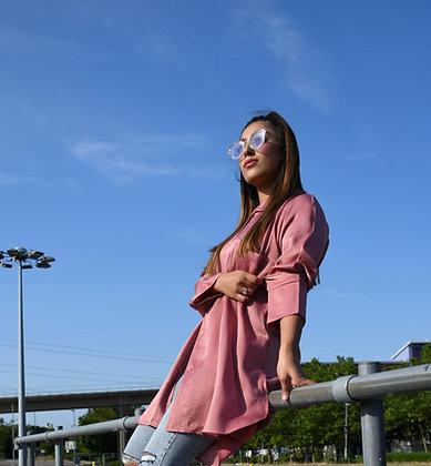 Metalic Blush Shirt Dress