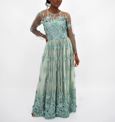 Pastel Green Embroidered Dress