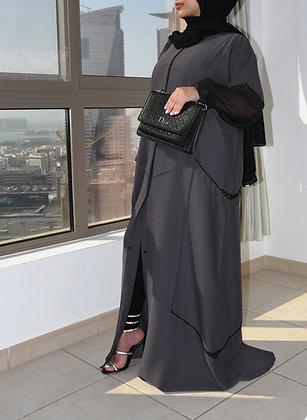 Charcoal Black Lace Abaya