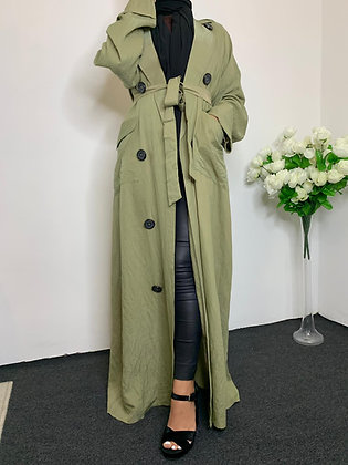 Light Olive special crepe material jacket with belt