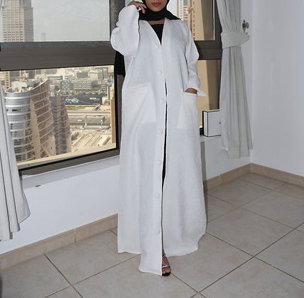 Dove Cotton Crushed Abaya