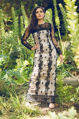 Black Lace Diamantè Sheath Evening Dress