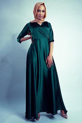 Deep Emerald Satin Silk Dress