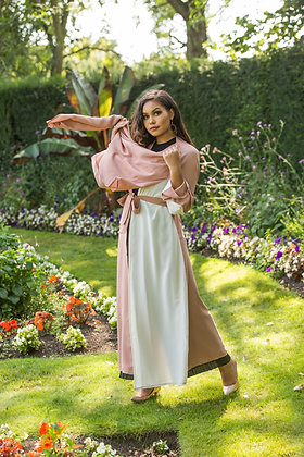 Pink Cream Layered Scarf Abaya