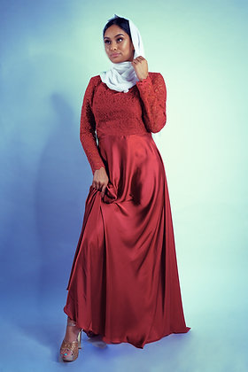 Red Laced Pleated Dress