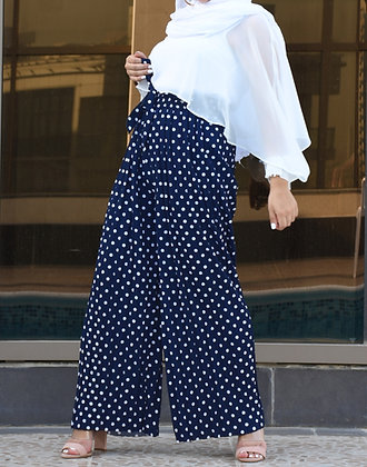 Navy polka-dot pleated culottes