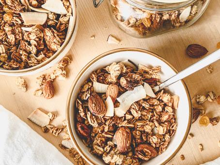 Homemade granola with almonds.