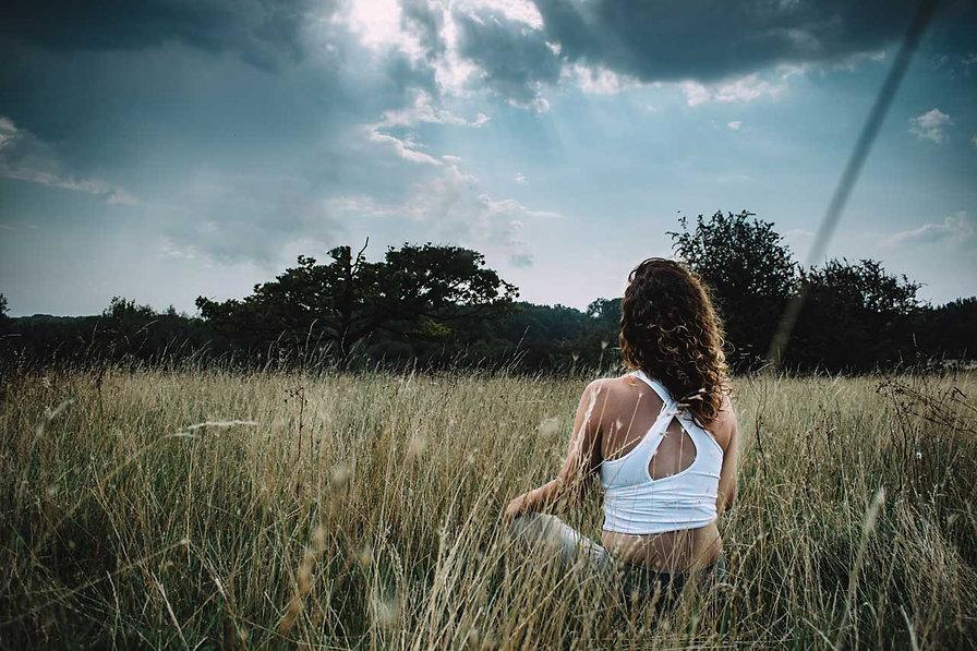 Meditation page banner - Helen meditating in nature