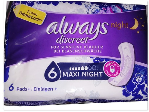 Incontinence Pads, Maxi Night 6 pads – Always Discreet