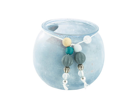Candlestick Wind Light Vase, Blue by Boltze
