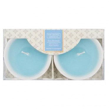 Sea Breeze Ceramic Bowl Candles, 2-pack