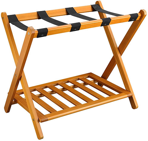 "Luggage Rack, 28"" Wide, Honey Oak, Casual Home"