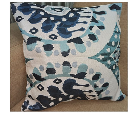 Blue and Biege Jacquard Cushion Cover - 40×40 cm