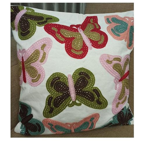Cotton Embroidery Decorative Butterflies Cushion Cover - 40×40 cm