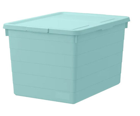 SOCKERBIT Storage box with lid, light blue – Ikea