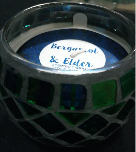 Bergamot & Elder Green Mosaic Candle
