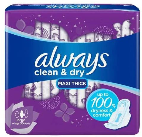 Clean & Dry Maxi Thick Large Sanitary Pads with Wings, 30-Piece – Always