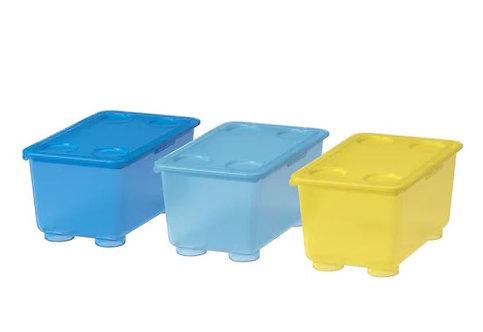 GLIS Box with Lid, Yellow, Blue, 17x10 cm - Ikea
