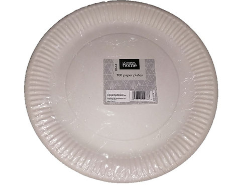 100-Pack White Paper Plates, George Home