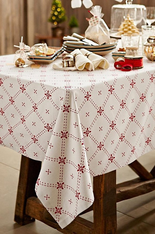 Offwhite/ Biege Printed Tablecloth, 100% Baumwolle – Tchibo