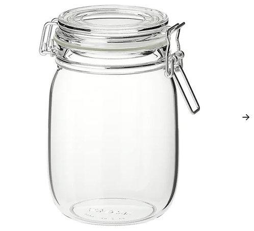 KORKEN Jar with Lid, Clear Glass, 1l -IKEA