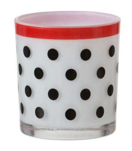 White and Black Polka Dot Votive Holder, Yankee Candle