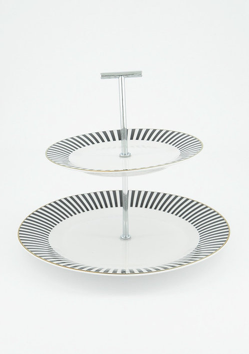 Serving Stand Two-tiered, White/Black by Boltze