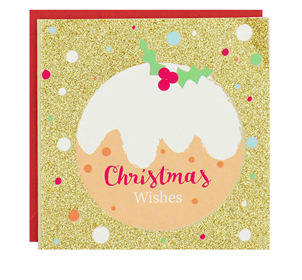8-Pack Gold Glitter Christmas Pudding Luxury Christmas Cards, Winterworks