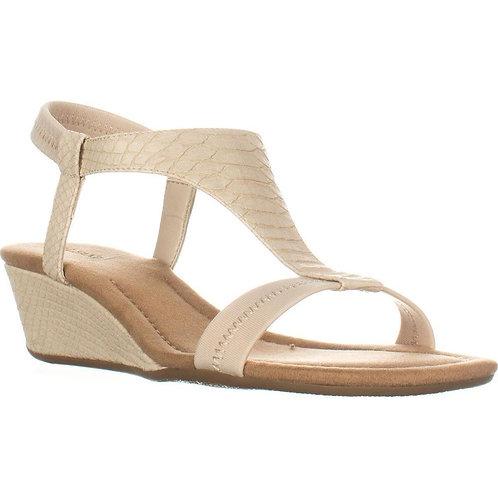Vacanza Square Toe Wedge T-Strap Platform Sandals Size US 8.5M, Pale by Alfani