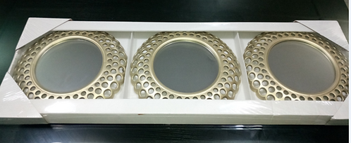 Glamorous Cascading Orbs Gold Framed Round Wall Mirror