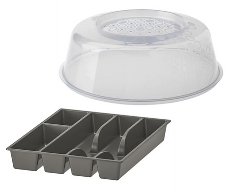 Microwave Lid and Cutlery Tray Set, Grey – IKEA