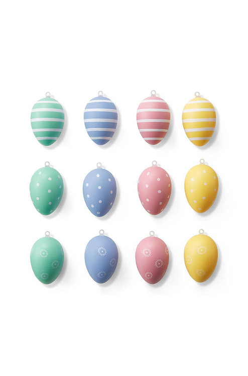 Easter Eggs Pendant Set of 12, Yellow/Pink/Sky Blue