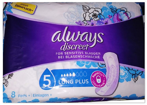 Incontinence Pads, Long Plus 8 pads – Always Discreet