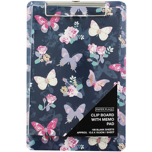 Butterfly Print Print Clip Board and Memo Pad