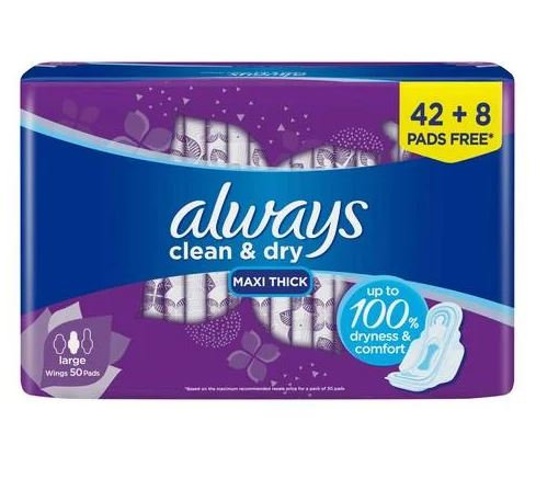 Clean & Dry Maxi Thick Large Sanitary Pads with Wings, 50-Piece – Always