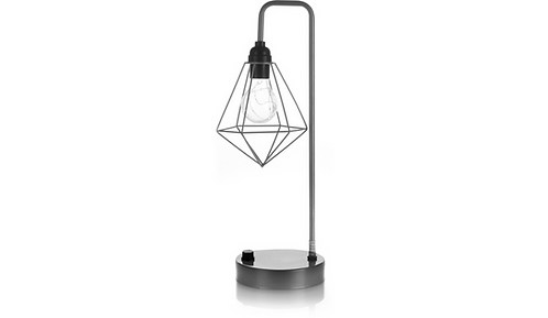 Silver Geometric-Shaped Table Lamp